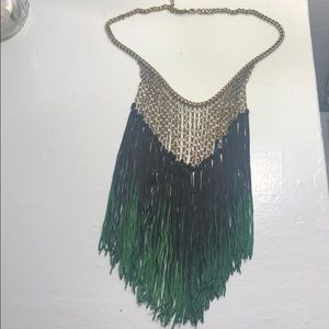 Jewelry - Black to Green Ombré Fringe Necklace